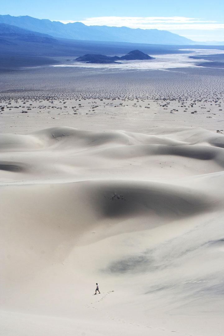 Andrew Skaggs wanders the Panamint Dunes. Photo by Katie Vane.