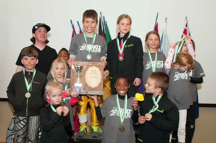 Team Norway on the podium after winning the Mighty Mite Worlds.