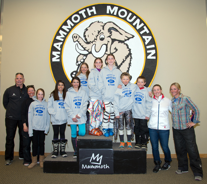 The Mammoth Mountain Community Foundation held the second A Team Award presentation on Saturday, March 15. Olympian Stacey Cook was on hand to congratulate the winners. Cook (second from the right) is shown here with the All-Mountain Charger A Team.