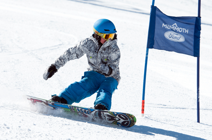 Jake Westfall on his way to posting the fastest time of the day for the snowboard division in the Fourth Annual Geoff Carreiro Memorial Fun Race, held Wednesday, March 19.