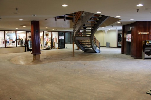 One of the two stairwells on the first floor of the Sierra Center Mall was removed last weekend. Drew Hild, a partner with Paul and Kathleen Rudder in the building, said the removal continues the remodel which began with the creation of a beautiful Events Center on the 2nd floor (former location of Mammoth Grill and Bar). In addition, all mall bathrooms have been remodeled. Hild said the goal with the stairwell removal is to open up the space and create a neighborhood feel and gathering space. He envisions comfortable furniture, free wi-fi and is in negotation with vendors to provide some food and beverage service (at the very least coffee and pastries).