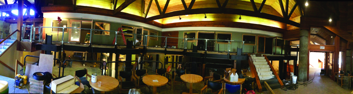 A panoramic view of the Snowcreek Athletic Club's renovated entranve and extended second floor area.