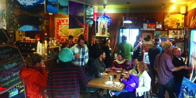 Folks gather at Stellar Brew for the yOUR place art show.