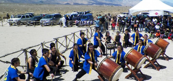 UCLA Kyodo Taiko, the nation's first and oldest collegiate taiko drumming team, performed at the 45th Annual Manzanar Pilgrimage last Saturday. Note Mammoth's Kendall Tani drumming back center.