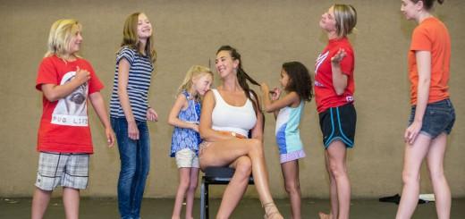 Tanya Zaleschuk as Titania surrounded by her adoring fairies (Zevin Crockett, Brittany Ivanitski-Kiebach, Zina Crockett, Maya Johnson, Anna Cady, Khylie Small). Photo courtesy: SCT.
