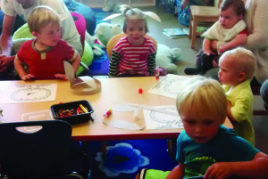 Arts and crafts during weekly Story Time at the Mammoth Lakes Library. Photo courtesy: Sulin Jones.