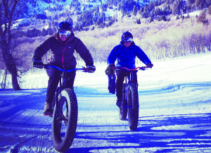 Jodie Melton (left) and Eric Hunter ride fat bikes on a groomed trail in Utah.Fat Bike Mammoth is working to gain greater trail access in the Mammoth area. Photo courtesy: Alan Jacoby.