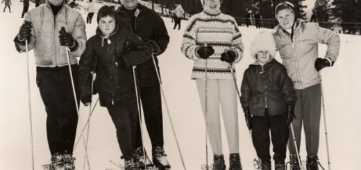 Lined up and decked out for skiing: Jimmy, Jody, Sylvester, Betty Jane, Katie and Robin. Photos courtesy: Morning family.