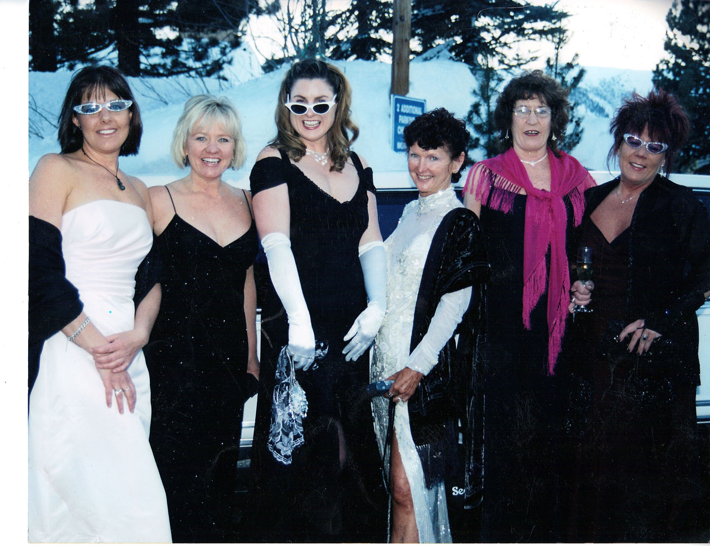 From one of Sue Ebersold's infamous Oscar parties, circa 2005. From left: Renee Prouse, Terry Englehardt, Therese Tullo, Sandee Wilson, Marla Wiegand and Sue Ebersold. Photo courtesy: Sheet staff.