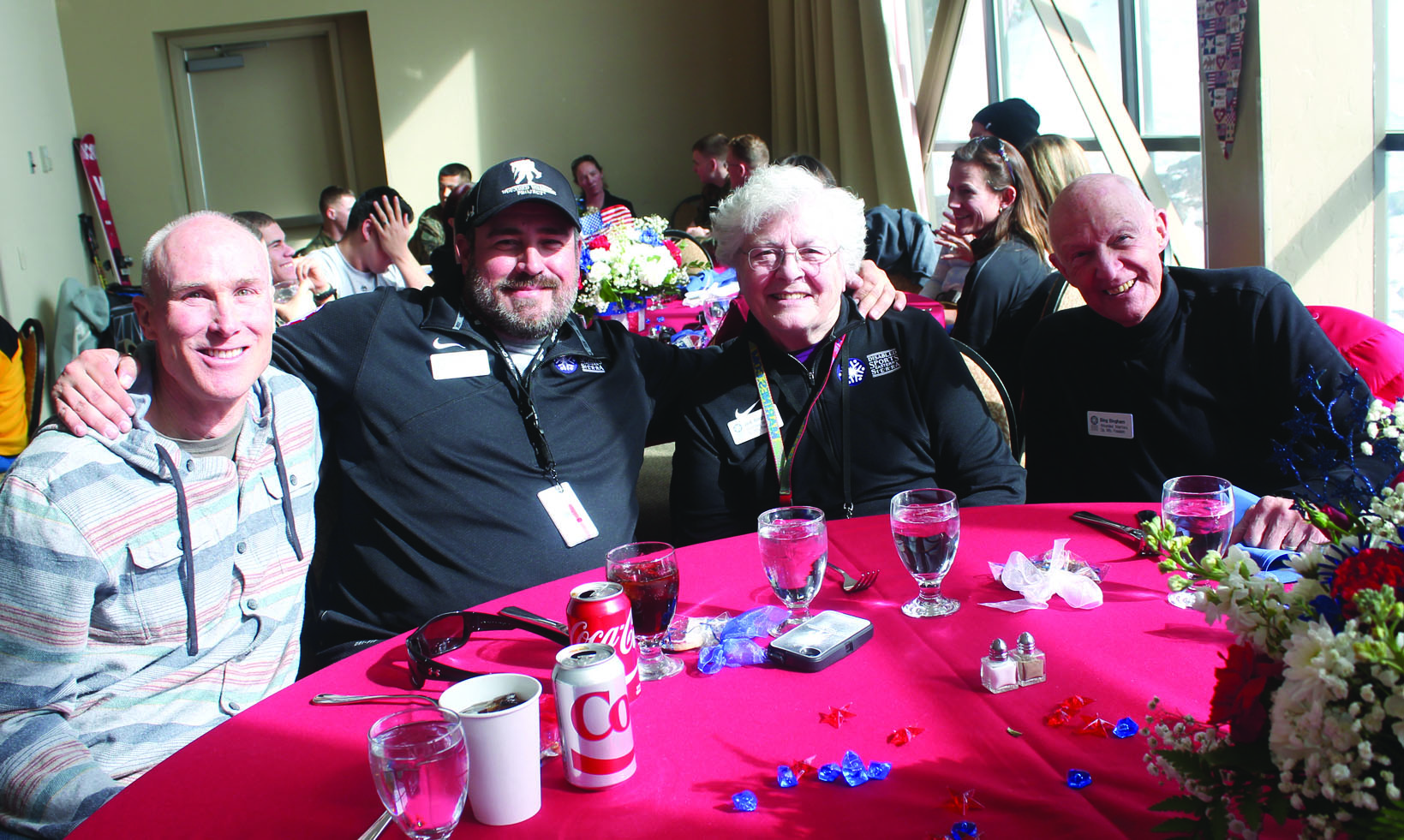 40 Wounded Warriors along with families and guests were in town this past week for Disabled Sports Eastern Sierra's Operation Mountain Freedom event. At Thursday's luncheon were, from left, Ed Hurley, Owner of Burgers, Mike Murphy, a veteran from Rialto, Jodi Bingham and Korean War vet Bing Bingham of Gardnerville. At the luncheon, the Marine Officers Basic Class 6-67 made a donation of $20,000 towards the National Wounded Warrior Center planned for Mammoth Lakes.