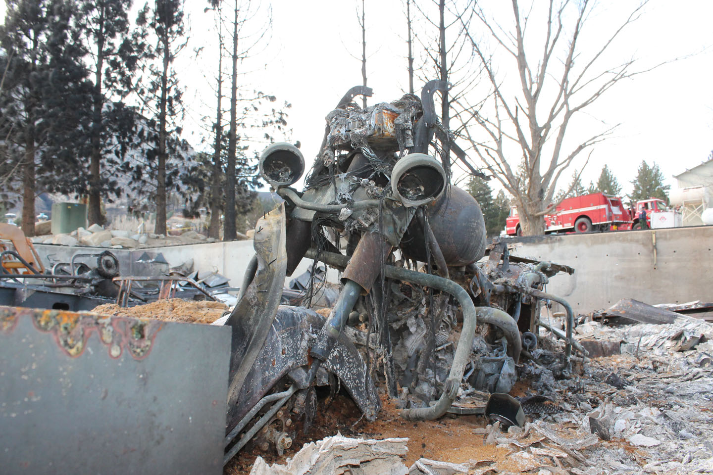 Retired CHP supervisor Al's burned out motorcycle.