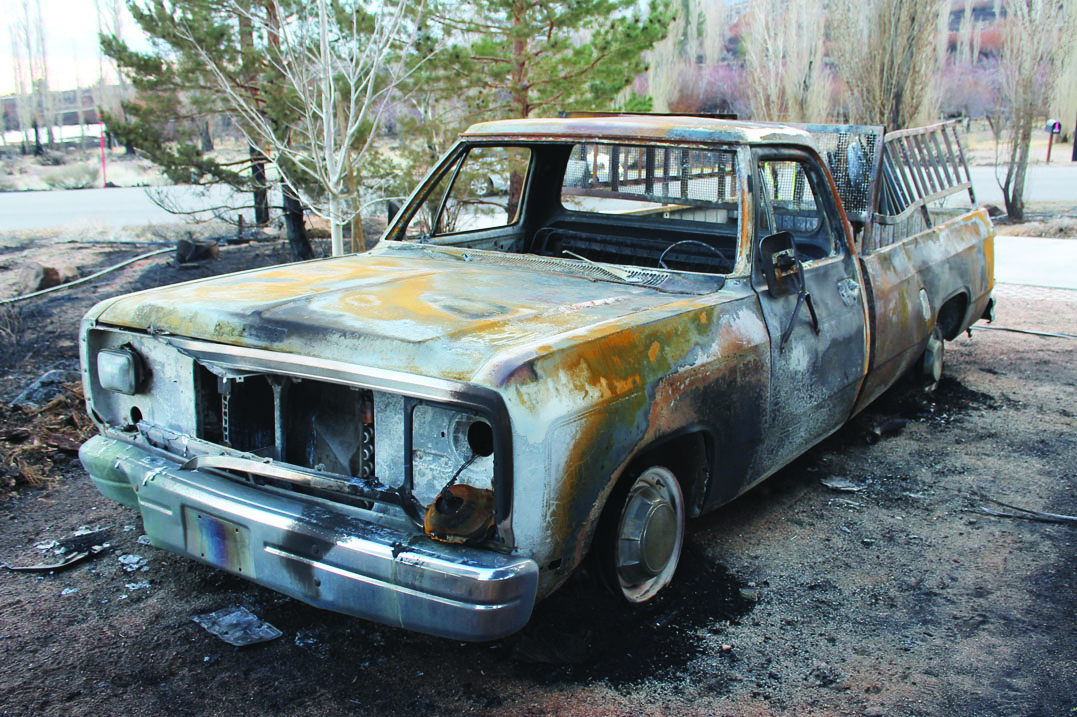 A burned out truck.