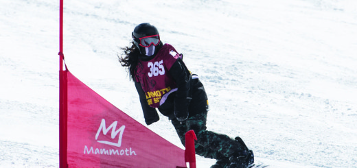 Mammoth High School's Fleur Connolly won the CNISSF Championships Girls Snowboard Overall title after winning both slalom and GS races in the state championships. Photos courtesy: Sue Morning.