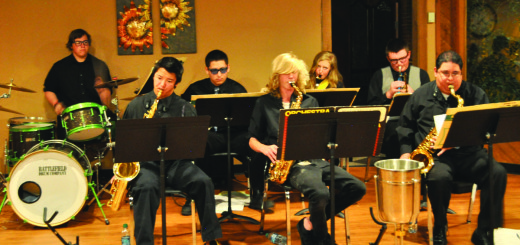 The MHS Advanced Jazz Band at a recent performance at the Bistro at Snowcreek. Front Row L-R: Connor Kusumoto; Connor Craig; Andre Beltran (MUSD Director of Music). Back Row L-R: Jesse Worden; Jesus Teran; Lynn Regelbrugge; Hayden Mannetter. Not pictured: Oscar Sanchez