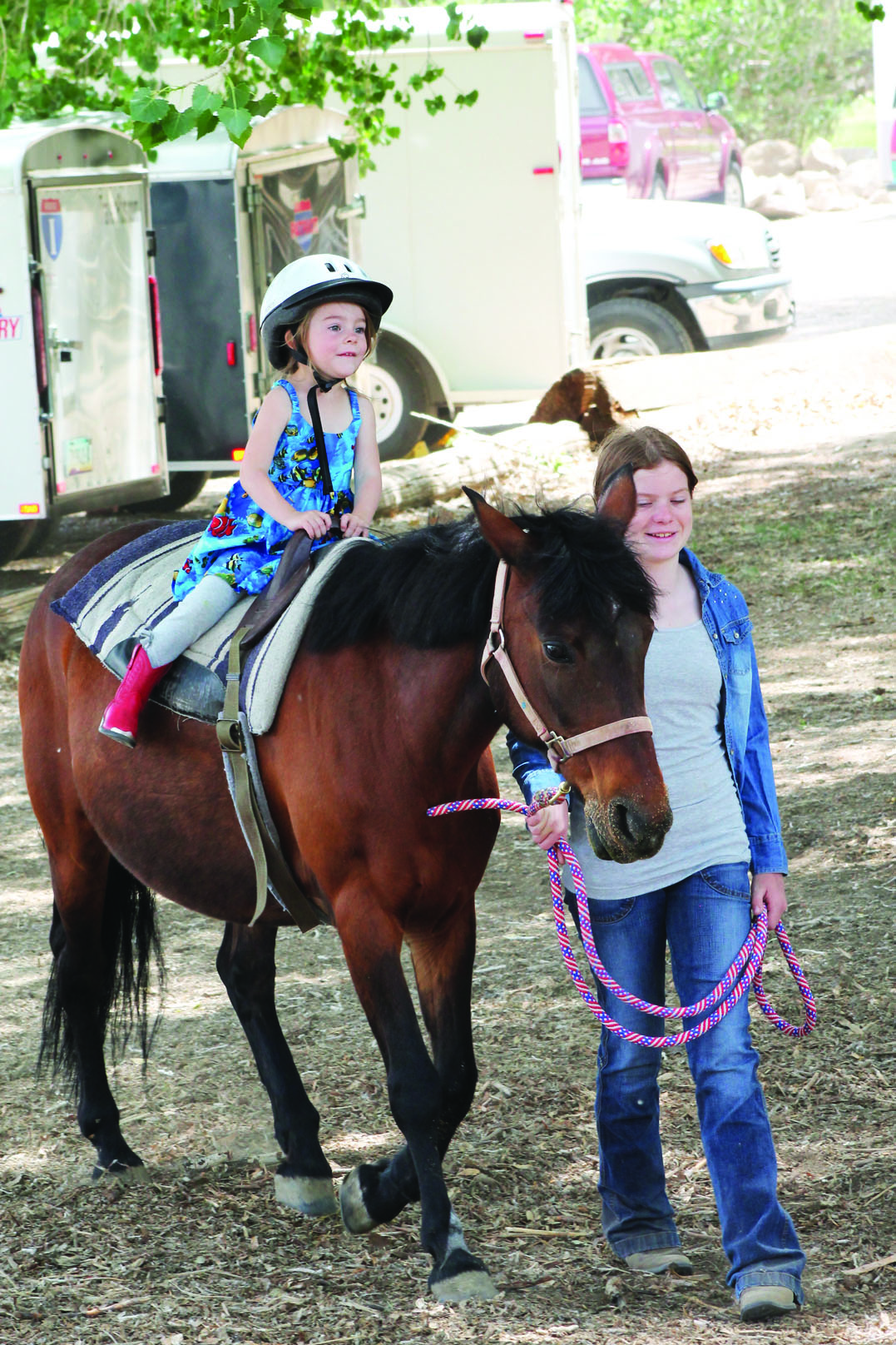 Gogo Carleton rode a horse for the first time at Bishop City Park last Saturday. Freedom in Motion Therapeutic Riding Center hosted the rides as an organizational fundraiser. Freedom in Motion currently sees 74 students on a weekly basis according to its website. Info: 760.933.2606.