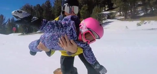 Wave Rave owner Steve Klassen and three-year-old daughter Kinsley have made waves with their tandem snowboarding video.