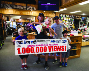 Wave Rave Snowboard Shop owner Steve Klassen's viral snowboarding video (featuring daughter Kinsley) recently topped the million-view mark. The Wave Rave crew celebrated the feat on Wednesday. Photo courtesy: Pellegrini.