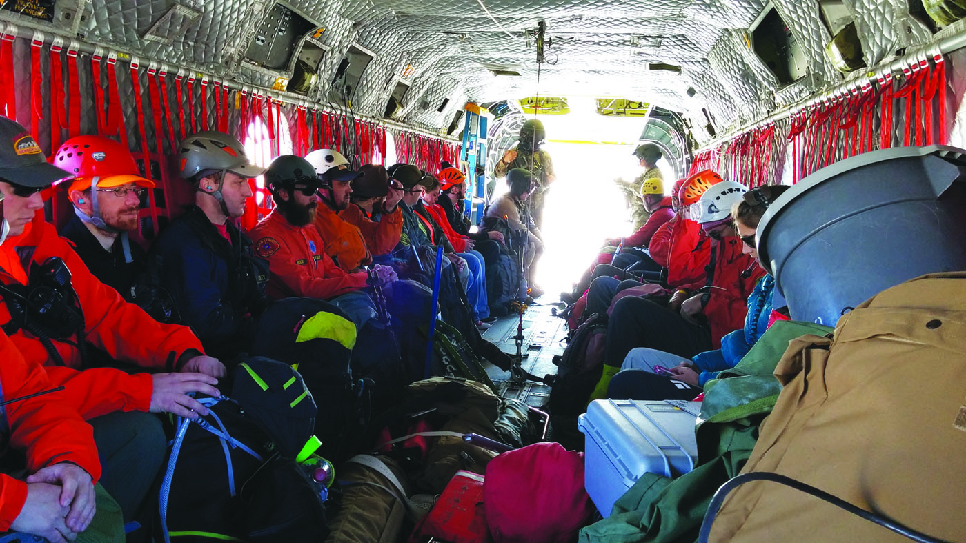 Searchers prepare to depart in the National Guard Chinook. Photo courtesy: Julie Vargo.