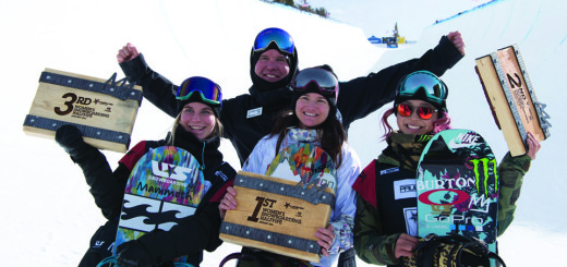 Ben Wisner, Director Mammoth Snowboard and Freeski Teams, stand for a photo with Mammoth ladies Maddie Mastro, Kelly Clark and Chloe Kim after the trio swept the podium in the ladies halfpipe.