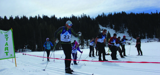 Participants head off to compete in the 4 k Cross Country Ski Race at Tamarack during the World Police and Fire Winter Games. Photo courtesy: Rea.