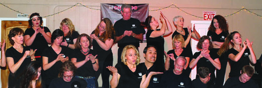The cast performing a scene at a recent sneak preview hosted by the Bishop Chamber of Commerce.