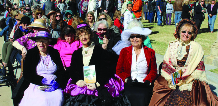 The Inyo County sesquicentennial was celebrated Wednesday morning in Independence. Dressed for the occasion, from left: Alice Smalley, Jennifer Duncan, Marilyn Bracken and Sharon Avey. Photo courtesy: James.