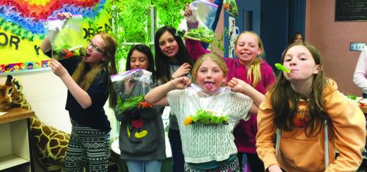 Mammoth Girl Scouts dig in. From left: Zoe Erickson, Kaeli Moore, Ciera Morrow, Winter Walker, Laurel Wight and Kat Beglau.
