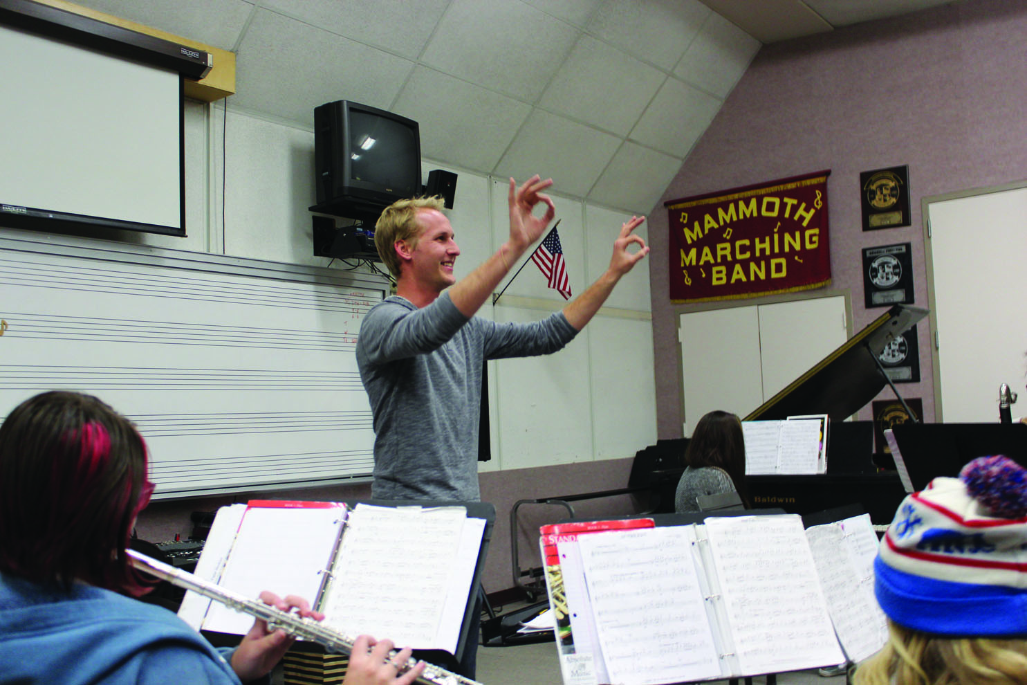 Tyler Goodwin, a sophomore at Mammoth High School, is well on his way to being a real charmer on the sax thanks to new MUSD music teacher Michael Hammers. Photo: Rea